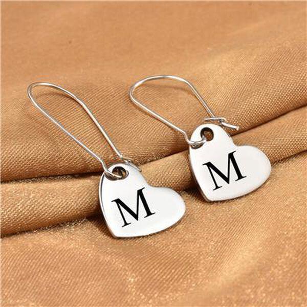 Personalised Engravable Heart Drop Earrings in Silver Tone