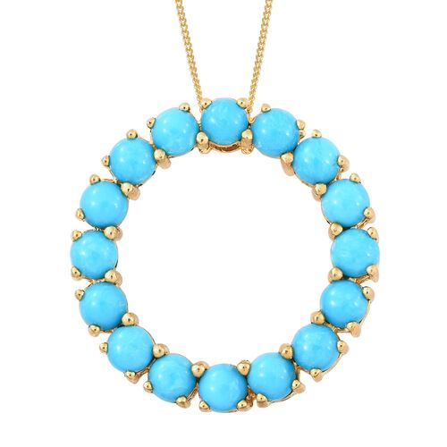 Arizona Sleeping Beauty Turquoise (Rnd) Circle of Life Pendant with Chain in 14K Gold Overlay Sterling Silver 3.500 Ct.