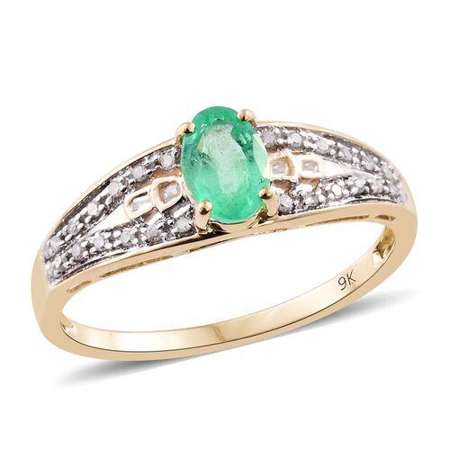 9K Yellow Gold AAA Boyaca Colombian Emerald (Ovl), Diamond Ring 1.000 Ct.