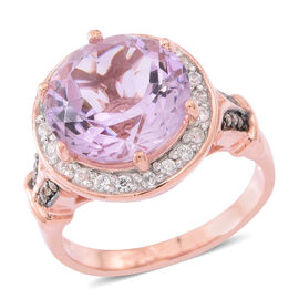 Rose De France Amethyst (Rnd), Natural White Cambodian Zircon and Natural Champagne Diamond Ring in