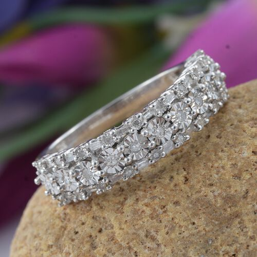 Designer Inspired Diamond (Rnd and Bgt) Ring in Platinum Overlay Sterling Silver 0.330 Ct.