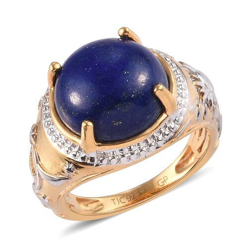 GP - Lapis Lazuli and Blue Sapphire Ring in Platinum and Yellow Gold Overlay Sterling Silver 6.75 Ct