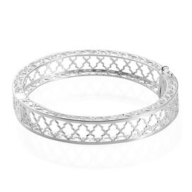 Cross Design Bangle in Sterling Silver 7.5 Inch