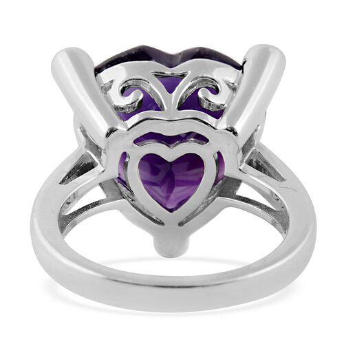 Amethyst (Hrt), Natural Cambodian White Zircon Ring in Rhodium Overlay Sterling Silver  9.190 Ct.