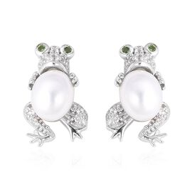 Freshwater Pearl (Ovl), Russian Diopside and Natural White Cambodian Zircon Frog Earrings (with Push
