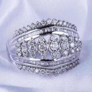 NY Close Out 10K White Gold Diamond (I1-I3/G-H) Ring 2.00 Ct, Gold Wt. 6.60 Gms