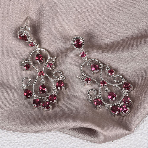Orissa Rose Garnet Earrings (with Push Back) in Platinum Overlay Sterling Silver 6.00 Ct, Silver wt. 8.00 Gms