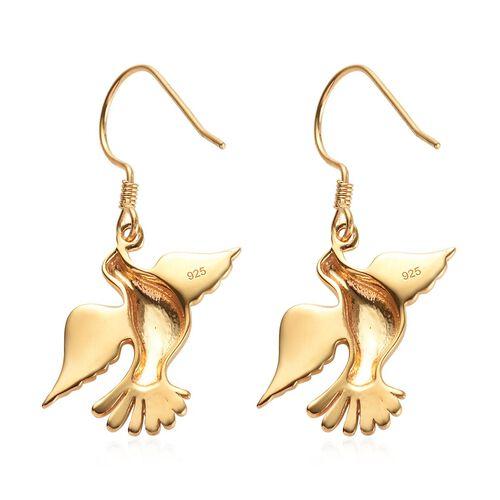 14K Gold Overlay Sterling Silver Flying Bird Earrings