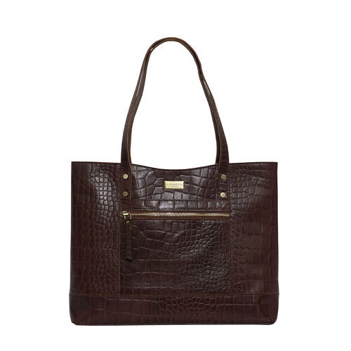 Assots London HELENE - 100% Genuine Leather Handbag (35x10x28) - Brown