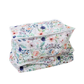 SERENITY NIGHT Floral Pattern Stretching Double Layer Storage Bag with Zipper Closure (Size:51x37x40