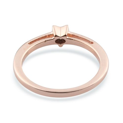 White Diamond Ring in Rose Gold Sterling Silver 0.03 ct  0.030  Ct.