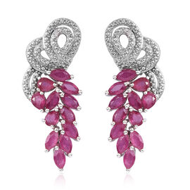 African Ruby (Mrq), Diamond Earrings (with Push Back) in Platinum Overlay Sterling Silver 5.011 Ct, Silver wt 6.00 Gms.