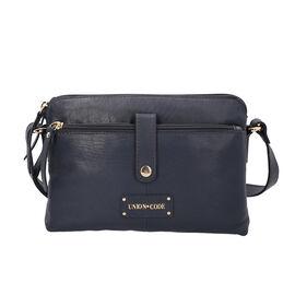 UNION CODE 100% Genuine Leather Multi Pocket Crossbody Sling Bag with Zipper Closure (Size 25.5x3x18
