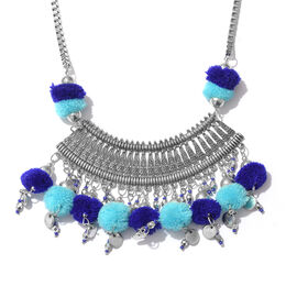 Trendy Boho Style Pom Pom Necklace in Silver Bond