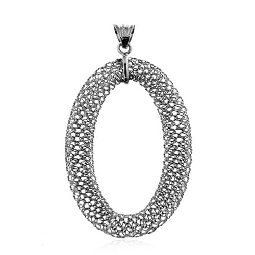 Italian Made-Rhodium Plated Sterling Silver Oval Pendant, Silver wt. 3.53 Gms.