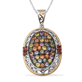 Rainbow Sapphire Pendant With Chain (Size 18) in Two-Tone Overlay Sterling Silver 6.08 Ct.
