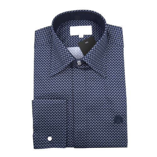William Hunt - Saville Row Forward Point Collar Dark Blue and White Shirt (Size 15)