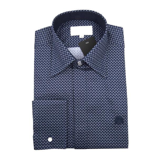 William Hunt - Saville Row Forward Point Collar Dark Blue and White Shirt (Size 15)