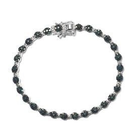 2.50 Ct Blue Diamond Floral Bracelet in Platinum Plated Sterling Silver 13.13 Grams 7.5 Inch
