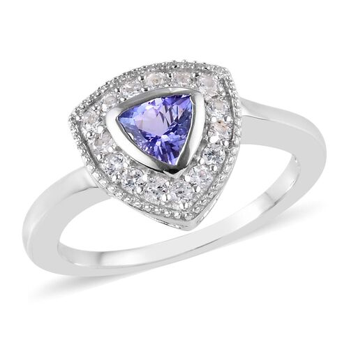 0.66 Ct Tanzanite and Natural Cambodian Zircon Halo Ring in Platinum Plated Sterling Silver