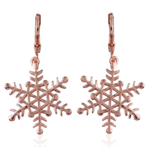 Rose Gold Overlay Sterling Silver Snowflake Lever Back Earrings, Silver wt 4.76 Gms.