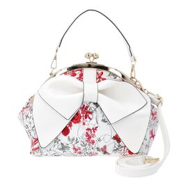 Bowknot and Floral Pattern Satchel Bag with Kiss Lock and Detachable Shoulder Strap (Size 26x20x24 C