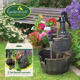 2 Tier Barrel Fountain (with 2.55m Cable)