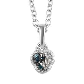 Diamond (Bgt), Blue Diamond Pendant with Chain (Size 20) in Platinum Overlay Sterling Silver 0.030 C
