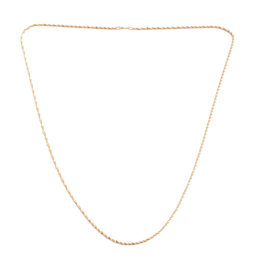 Yellow Gold Overlay Sterling Silver Diamond Cut Chain (Size 24), Silver wt 3.40 Gms.