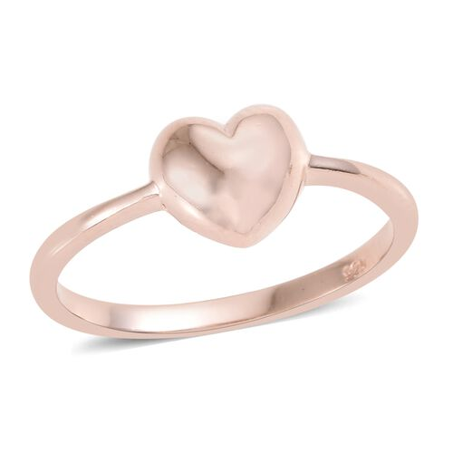 Rose Gold Overlay Sterling Silver Mini Heart Promise Ring