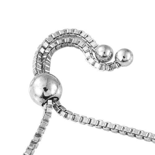 J Francis - Platinum Overlay Sterling Silver (Rnd) Adjustable Bracelet (Size 6.5 to 9.5) Made with SWAROVSKI ZIRCONIA