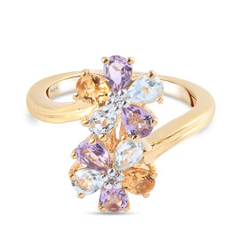 GP Italian Garden Leaf and Flower - Pink Amethyst, Citrine and Multi Gemstone Bypass Floral Ring in