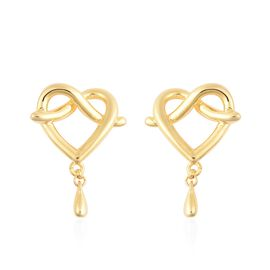 LucyQ Entwined Heart Drip Earrings (with Push Back) in Yellow Gold Overlay Sterling Silver