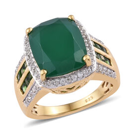 Verde Onyx (Cush 4.93 Ct), Natural Cambodian Zircon and Russian Diopside Ring in 14K Gold Overlay St