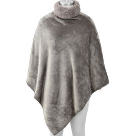Ultra Soft Double Layer Flannel Sherpa Free Size Wrap (L-105 Cm) - Light Grey