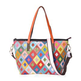 Morocco Collection -100% Genuine Leather Multicolour Block Pattern Tote Bag (Size 41x29x13 Cm) with