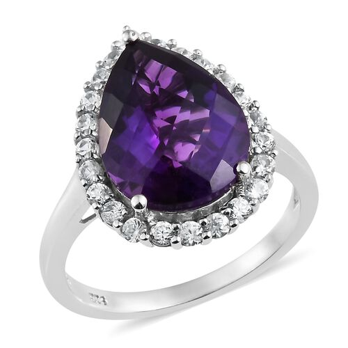 Checkerboard Cut- Lusaka Amethyst (Pear 7.90 Ct), Natural Cambodian Zircon Ring in Platinum Overlay Sterling Silver 9.000 Ct.
