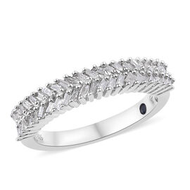 GP 0.35 Ct Diamond and Kanchanaburi Blue Sapphire Half Eternity Ring in Sterling Silver