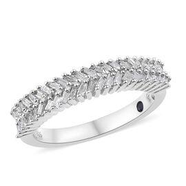 GP 0.35 Ct Diamond and Kanchanaburi Blue Sapphire Half Eternity Ring in Sterling Silver