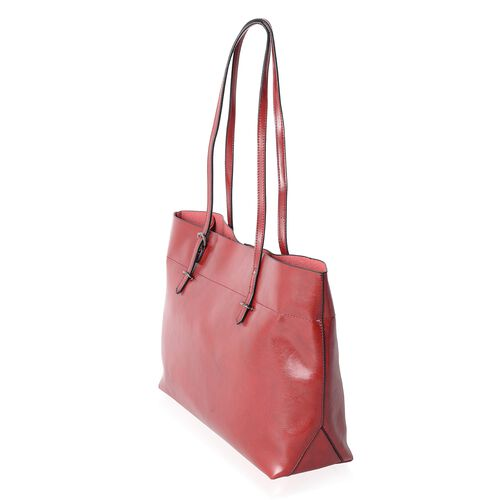 Close Out Deal 100% Genuine Leather Berry Travel Size Tote with External Zipper Pocket (Size 43x37x27x11.5 Cm)