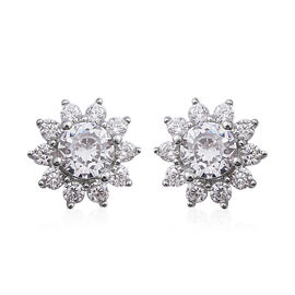 ELANZA Simulated Diamond (Rnd) Daisy Flower Earrings in Rhodium Overlay Sterling Silver