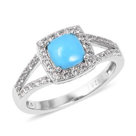 1.35 Ct Sleeping Beauty Turquoise and White Zircon Halo Ring in Sterling Silver 3.34 Grams