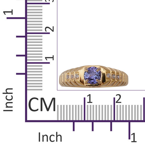 Tanzanite and Natural Cambodian Zircon Ring in Yellow Gold Overlay Sterling Silver 1.00 Ct, Silver wt 4.40 Gms