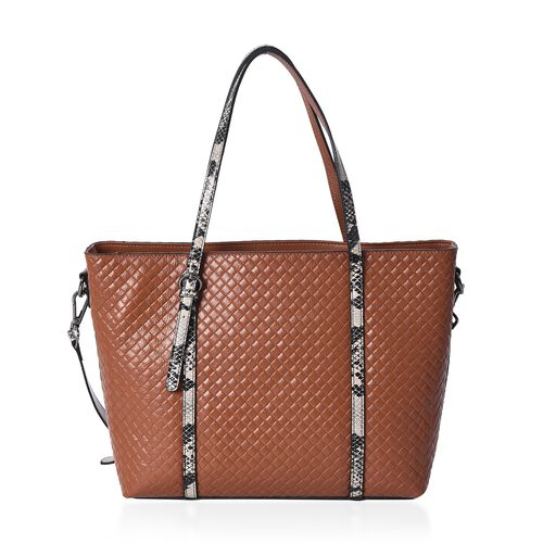100% Genuine Leather Snake Print and Quilted Pattern Tote Bag with Detachable Shoulder Strap and Zipper Closure (Size 32x12x26 Cm) - Tan