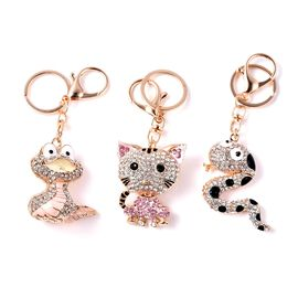 Set of 3 - Multicolour Austrian Crystal Snake and Cat Enamelled Keychain in Gold Tone