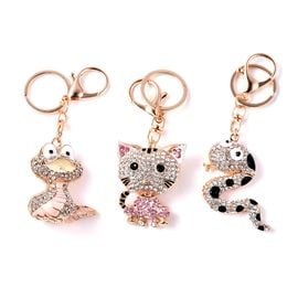 Set of 3 Multicolour Austrian Crystal Snake and Cat Enamelled Keychain in Gold Tone