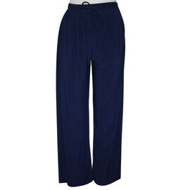 Supersoft Emma Wide Leg Trousers with Elasticated Waist in Navy - 27 inches (Size S/M)