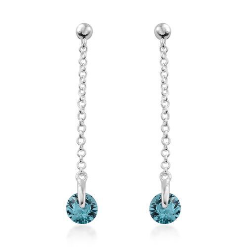 J Francis Crystal from Swarovski - Light Turquoise Colour Crystal (Rnd) Pendant and Dangle Earrings (with Push Back) in Sterling Silver