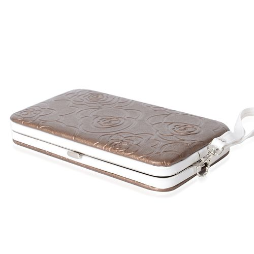 Limited Flower Embossed Pattern Golden RFID Clutch Wallet with Slot for Large Phone and Card and Cash (17.5x9.5x2.5cm)