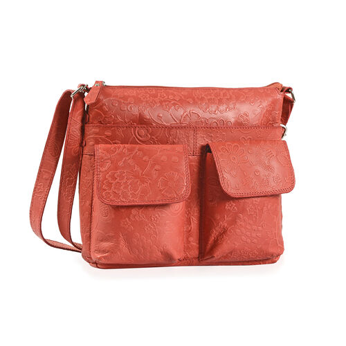 100% Genuine Leather Red Colour RFID Blocker Bag (Size 30x28 Cm)